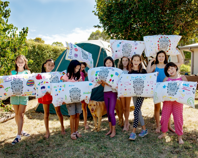 sleep over birthday party decorating pillow covers