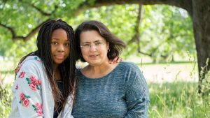 Mother and Daughter in outdoor setting family portrait
